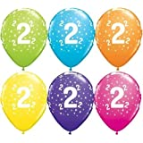 """Age 2/2nd Birthday Tropical Assorted Qualatex 11"""" Latex Balloons x 5"""