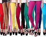 #7: Klugger Women's Ultra Soft Cotton Lycra Churidar Leggings Combo (Pack of 10)