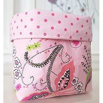 Stoffkorb Utensilo Aufbewahrung Blumen rosa Pünktchen Handarbeit Handmade