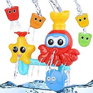 BBLIKE Badespielzeug für Babys, Kinder Wasser Dusche Badewannenspielzeug mit 3 Stackable and Nesting Cups, für Kinder Baby ab 18 Monate+