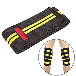 Generic Power Lifter Weight Lifting Knee Wraps Supports Gym Training Fist Straps -yellow