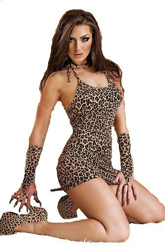 Chilirose Minikleid CR3156 Kleid Gepard mit Armstulpen und String