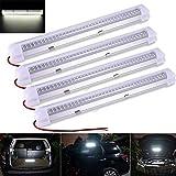 Innenbeleuchtung, 72 LED-Auto-Innenbeleuchtungs-Stab-Lampe 12V ON/OFF-Schalter für Auto-Reisemobil-Bus-Wohnwagen-Boot Reisemobil-Küche-Badezimmer (Weiß 4pcs)