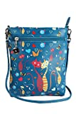 Latest Fashion Zip Closure Blue Sling Bag For Girls Womens and Ladies Designer Cat Printed PU Leather Cross Body Sling Bag By Instabuyz