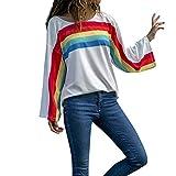 VEMOW Heißer Elegante Damen Regenbogen Streifen Drucken O-Ausschnitt Langarmshirt Lässige Tages Party Tops Bluse(Weiß, EU-44/CN-XL)