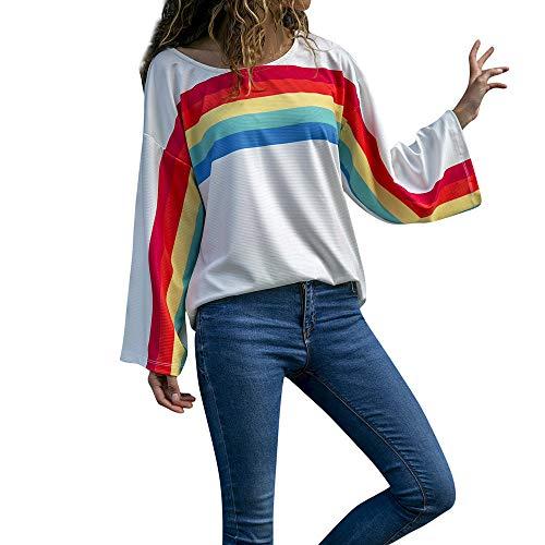 Rosennie Damen Langarm Bluse Rainbow Stripes Print O Hals Langarm Shirt Tops Bluse Frauen Pullover Langarmshirt Sweatshirt Oversized Langarm...