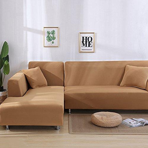 SSDLRSF Sofa Cover Große Elastizität 100% Polyester Spandex Stretch Couch Abdeckung Loveseat Sofa Handtuch Möbel Abdeckung Maschinenwäsche (90-300cm), Kamel, 3seater 190-230cm