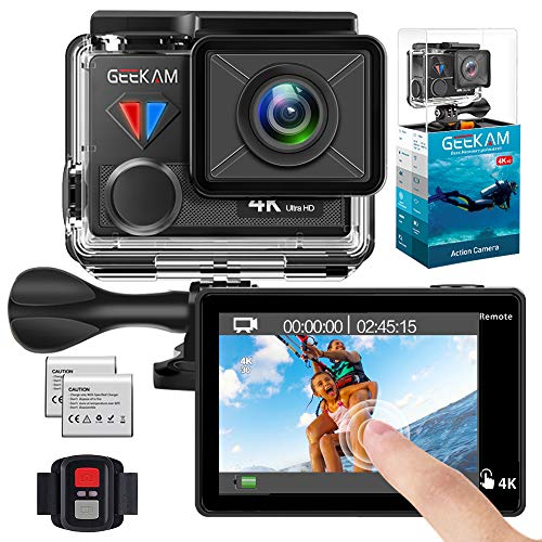 GeeKam T1 wasserdicht Digitale Action Kamera mit Touchscreen 4K / 30fps HD Video 20MP Live Streaming Fernbedienung Sportkamera mit Helmzubehör-Kit