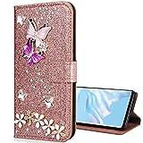 Nadoli Leder Hülle für Huawei Mate 10 Lite,Luxus Bling Glitzer Diamant 3D Handyhülle im Brieftasche-Stil Schmetterling Blumen Flip Schutzhülle Etui für Huawei Mate 10 Lite,Rose Gold