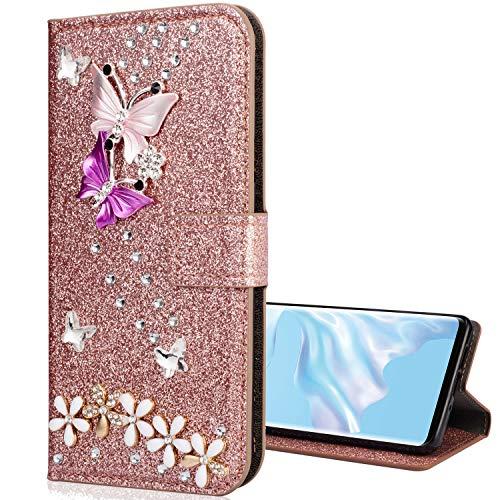 Nadoli Leder Hülle für Huawei Mate 20 Pro,Luxus Bling Glitzer Diamant 3D Handyhülle im Brieftasche-Stil Schmetterling Blumen Flip Schutzhülle Etui für Huawei Mate 20 Pro,Rose Gold -