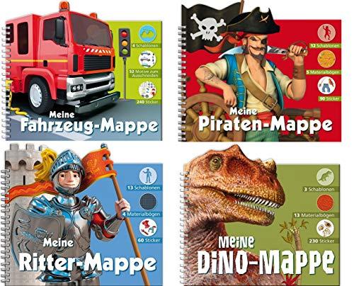 Kreativspaß Jungen - 4 verschiedene Titel in einem Paket - Fahrzeuge, Piraten, Ritter und Dino