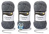 Schachenmayr Catania Wolle 3x50 Gr, 100% Baumwolle + 1 Eulen Knopf (Farbreihe 200-299) (242 Stein)