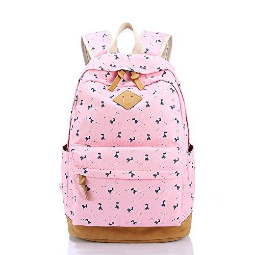 Borsa leggera dello studente della tela di canapa del sacchetto da 16 pollici del sacchetto del computer portatile per le ragazze adolescent Rosa