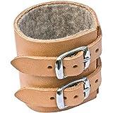 Handgelenkriemen aus Rindsleder 20 cm Länge - Innenseite gefüttert - 5 cm breit - beidseitig tragbar - mit 2 Schnallen zur Fixierung am Handgelenk