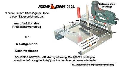 Stichsägetisch Trenn-Biber 012L-3 + Metabo Bosch Festool u. 5 lange T-Schaft Stichsägeblätter für Stichsägen - Sägetisch, zum Laminat, Parkett schneiden