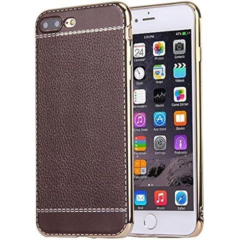 iphone 7 più caso, Krygershield® - il gel di cristallo flessibile di lusso in pelle morbida con copertura del paraurti elettrolitico nel caffè