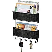 mDesign Organizador de cartas con colgador de llaves - Estante de pared para ordenar llaves con 5 ganchos - Moderno cuelga llaves con repisa doble nivel - negro