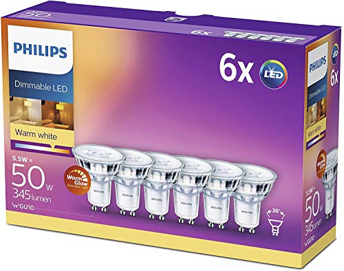 Philips LED WarmGlow Lampe ersetzt 50W, GU10, warmweiß (2200-2700 Kelvin), 345 Lumen, Reflektor, dimmbar, 6er Pack