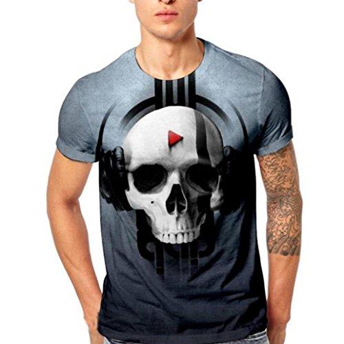 1fec0b3f66d5 Bringbring Mens Skull 3D Printing Tees Shirt Short Sleeve T-Shirt Blouse  Tops