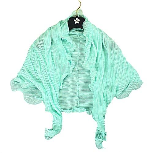 Fletion Femmes d'été multi-fonction Driving UV Protection Sunscreen brassard manches Écharpe Châle en mousseline de soie bleu clair