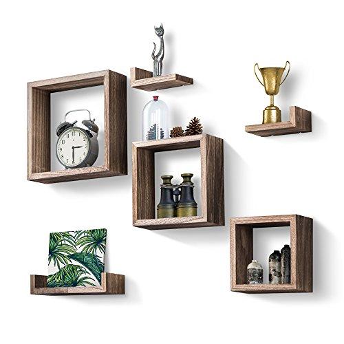 Love-kankei cubi da parete/mensole a cubo mensola galleggiante in legno decorativa in stile retrò scaffale a vetrina set di 7