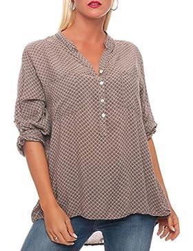 [Patrocinado]malito Retro-Blusa con Botón Bar Camisa 6713 Mujer Talla Única