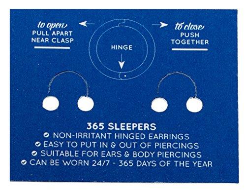 365 Sleepers 1 Pair 22ct Gold Plated Solid Sterling Silver 13mm Hinged Hoop Sleepers Earrings Made in Australia