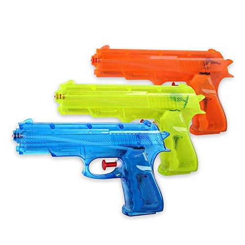 S/O® 3er Pack Wasserpistole Klassiker ca. 17cm Wasserpistolen Wasser Pistole Water Gun Watergun Wassergewehr Wassergewehre Test