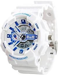 New Unisex Fashion Sport Watch Analog/Digital Resistente al agua hora Dual multifunción Alarma LED Mujer Hombre Reloj de pulsera Opción de 6colores (black01)