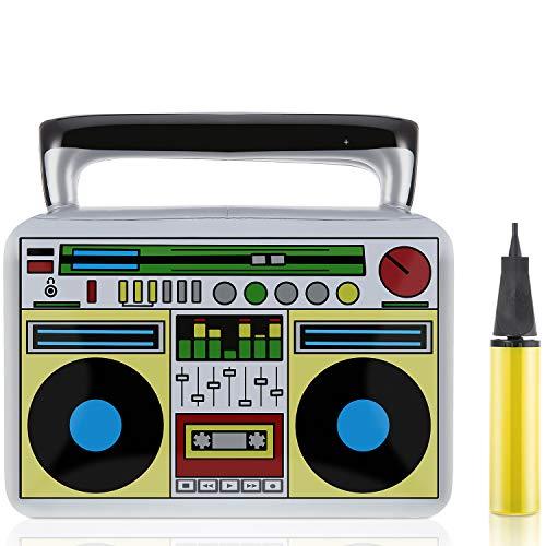 lasbare Boombox Spielzeug Set, Enthalten Aufblasbare Stütze und Hand Inflator Hand Luftpumpe für 80 Jahre 90 Jahre Party Lieferungen ()