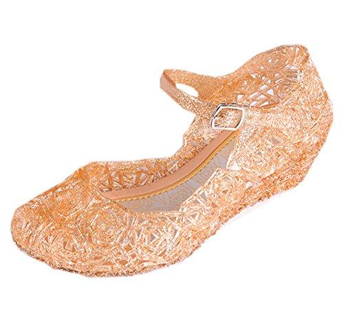 Vokamara Aschenputtel Mädchen Keilabsatz Sandalen Kristallglas Schuhe Cinderella Party Schuhe Gold 29