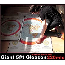 Flat Earth Poster Map Print: Giant 5f/t Gleasons New Standard Map of World 1892 - (152.4 x 101.6cm) Medium Thick PVC Outdoor Weatherproof Tarpaulin