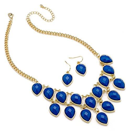 Blu a goccia in oro, con doppia fila di & Orecchini-Collana