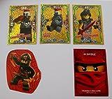 Lego Ninjago Serie 3 - 6 limitierte Gold Karten Trading Cards LE 21 Gemeiner Nails, LE 22 Gemeiner Chopper Maroni, LE 23 Gemeiner Luke Cunningham + 1 bmg2000 Aufkleber + 1 Ninjago Sticker Aufkleber Cole + 1 Ninjago Schutzhülle