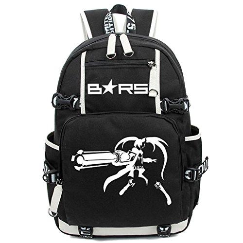Siawasey Black Rock Shooter Anime Cosplay Luminous Segeltuch Daypack Laptop Rucksack Schultertasche Schultasche