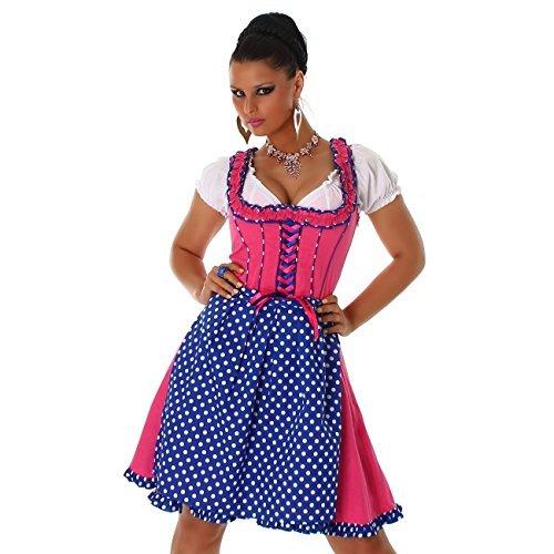 Edles 3-teiliges Jela London Dirndl Oktoberfest - bestehend aus Kleid, Dirndlbluse und Dirndlschürze - Polka Dots Pink Gr. 36 - 44 (JL-903) (40)