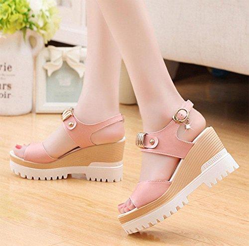Mit schwerem Boden Sandalen weiblichen Fischkopf Wort Schnalle offene Schuhe wilden Schuhe dicke Kruste Studenten Pink