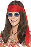 Smiffys Déguisement Femme - Kit de la femme hippie - avec perruque cheveux longs bruns - lunettes - pendentif Peace and Love et bandeau rouge - 21338