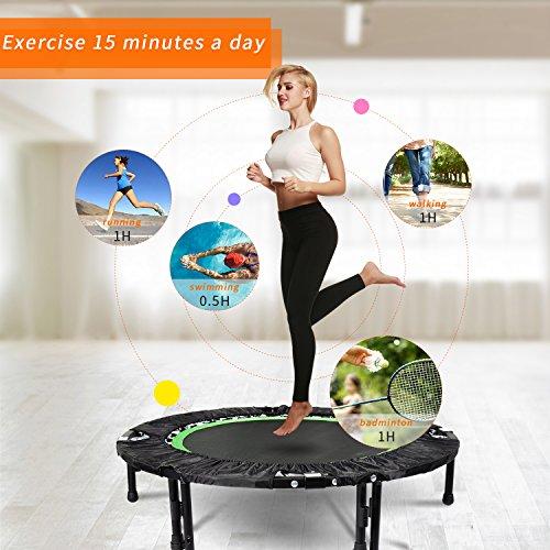 """ANCHEER 40"""" Mini Trampoline de Fitness Pliable avec Poignée, d'Entraînement Cardio pour Adultes ou Enfants (Charge Maximale: 135KG, Tapis de Saut Extensible) (Vert-Jambes Réglables)"""