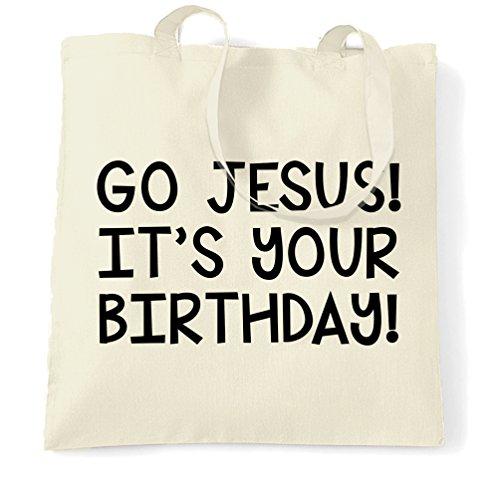 (lustige Weihnachts Tragetasche Go Jesus! Es ist dein Geburtstag! Natural One Size)