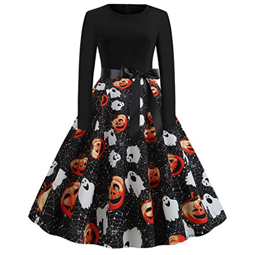 Geburtstag Mädchen Cap Sleeve T-shirt (FOTBIMK Halloween Kleid, Damen Casual Kürbis Print Kleid Oansatz Langarm Reißverschluss Hepburn Party Kleider (Schwarz-B, Klein))