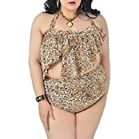 SaiDeng Donne Tassel Decorato Leopard Blossom Modello Due Pezzi Bikini