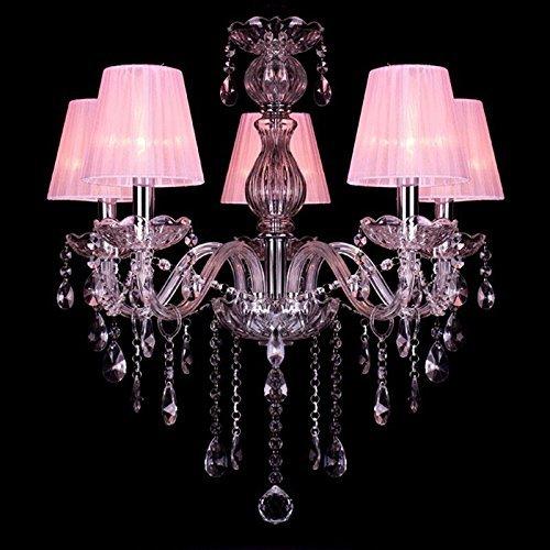 CNMKLM Pink Princess Crystal Room Pendelleuchte Romantische süße Mädchen im Zimmer Schlafzimmer Pendelleuchte Pendelleuchten Kronleuchter