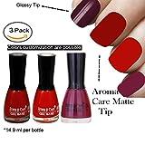 #10: Plum Matte Nail Polish, Red Matte Nail Polish and Reddish Orange Matte Nail Polish by Aroma Care, 14.9 ml per bottle