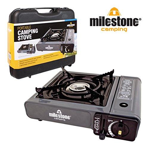 Milestone Cuisinière à gaz Portable Camping - Noire