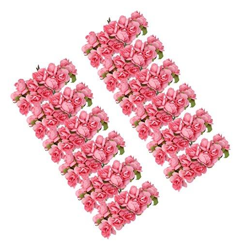 MagiDeal 144 STK. Mini Papier Rose Hochzeit Blumen für Handwerk Hochzeitsbevorzugungskasten (Rosa)