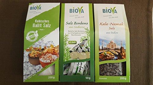 BIOVA Gourmet Salz Gewürze Mix Set Kubisches Halitsalz aus Pakistan, Kala Namak Salz aus Indien und basische Salzbonbons aus Südkorea - Feinkost Gewürze Edelmix Geschenk Box Probier Set