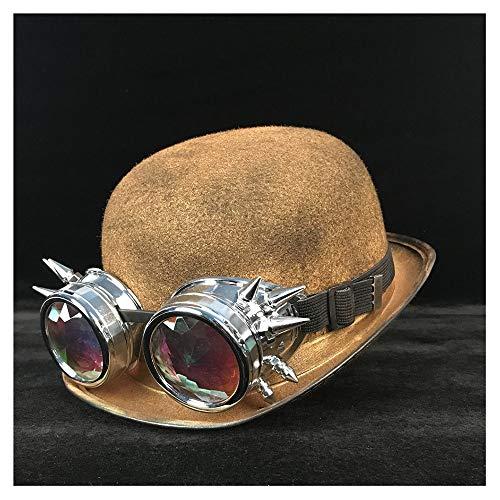 Beck Orlando Steampunk Melone Frauen Männer Brille Topper Hut Fedora Bräutigam Jazz Hut Pork Pie Hut (Farbe : Gold BLY, Größe : 57-58 cm)