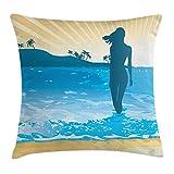 KAKICSA Beach Throw Pillow Cushion Cover, Summer Vibes Girl Near The Sea Shore Ocean Palms Waves Sunny Art Print, Decorative Square Accent Pillow Case, 18 X 18 inches, Sky Blue Cream Slate Blue