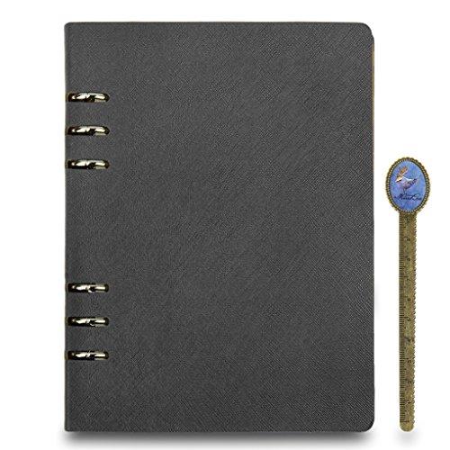 Agenda/archivador de cuero rellenable, tamaño A5, tapa dura, cuaderno de viajes, negocios, planificador personal, con ranura integrada para tarjetas y marcador de libros con regla, color A5 Black, 6 Ring